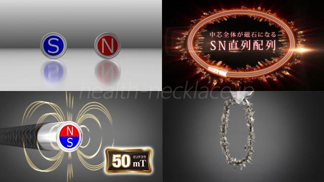ファイテン磁気ネックレス中芯全体が磁石になるSN直列配列