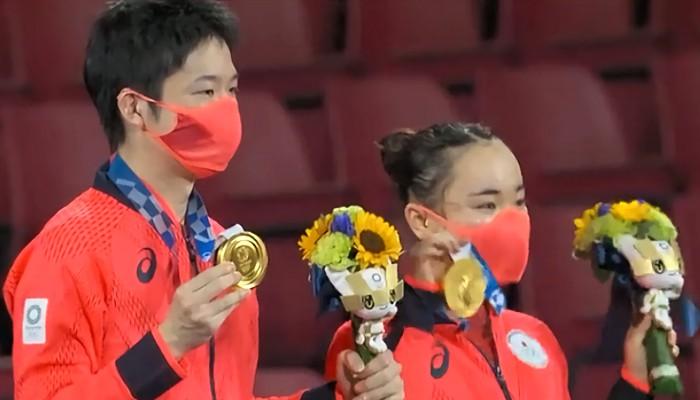 東京オリンピック卓球混合ダブルス 水谷・伊藤ペア 金メダル