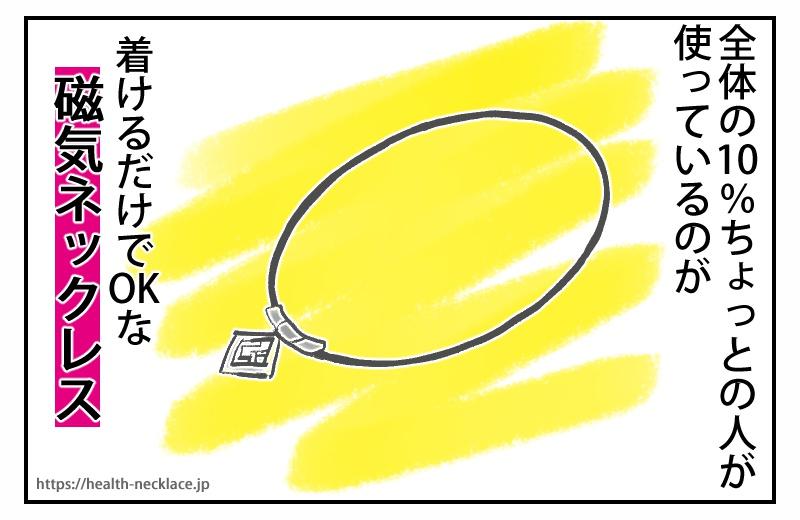 全体の10%ちょっとの人が使っているのが、着けるだけでOKな磁気ネックレスです。