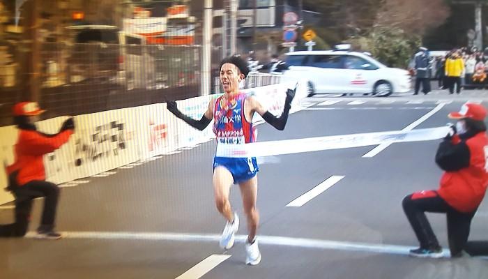 2021年箱根駅伝創価大学5区三上雄太選手往路優勝ゴール